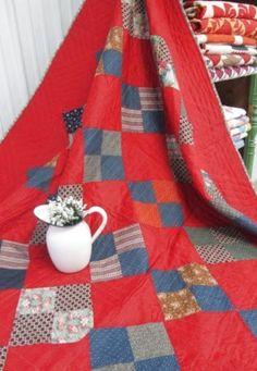 ANTIQUE-Quilt-Patriotic-Red-Blue #affiliate #quilt #antique #handmade
