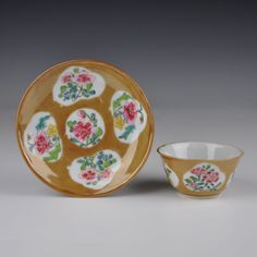 A Perfect Chinese Porcelain Brown Glazed Famille Rose Cup & Saucer in Antiques, Asian/ Oriental Antiques, Chinese | eBay