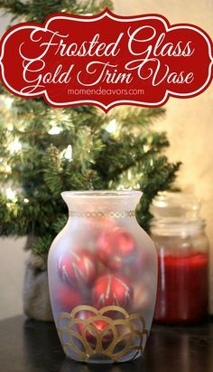 DIY Frosted Glass Gold Embellished Vase and Ornaments - fun holiday DIY using Martha Stewart Crafts - click thru for the full tutorial ideas (Rethinking this to maroon gold) Diy Christmas Ornaments, Christmas Projects, Holiday Crafts, Holiday Fun, Christmas Holidays, Christmas Bulbs, Christmas Decorations, Holiday Decor, Cozy Christmas