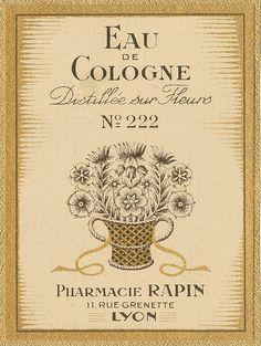 Antique French Perfume Label by Alys Geertsen Vintage Labels, Vintage Ads, Vintage Images, Vintage Prints, Vintage Packaging, Vintage Advertising Posters, Vintage Advertisements, Vintage Posters, French Posters