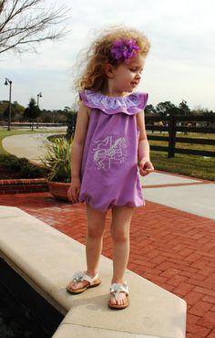 Toddler Romper - Purple Romper - Baby Romper - Everyday Bodysuit - Carousel Romper - Toddler Playsuit - Summer Romper - Baby Lace Romper