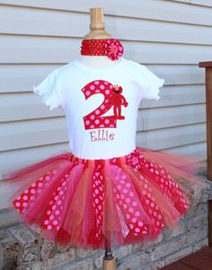 Elmo Block Number Fabric Tutu Outfit  by SillyMonkeyBoutique, $47.00