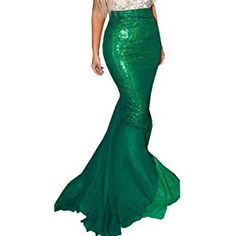 Womens Fancy Sequin Mermaid Tail Skirt Costume Long Maxi Dress