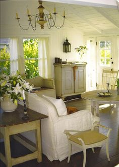 Cottage living room in white