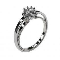 Inel de logodna Rieu aur alb cu cristal / diamant solitar