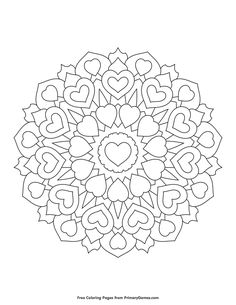 Free printable Valentine's Day Coloring Pages eBook for use in your classroom or home from PrimaryGames. Print and color this Heart Mandala coloring page. Heart Coloring Pages, Pattern Coloring Pages, Flower Coloring Pages, Mandala Coloring Pages, Coloring Pages To Print, Printable Adult Coloring Pages, Free Coloring Pages, Coloring Books, Fairy Coloring