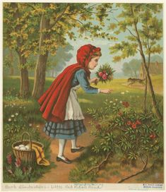 [Little Red Riding Hood picking flowers]
