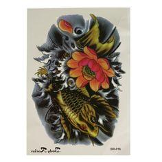 Colorful Brocade Carp Pattern Totem Temporary Tattoo Sticker Decal Arm Back - Gchoic.com