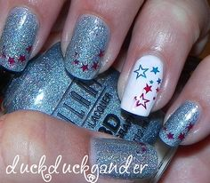 fourth of july star red white blue nails manicure 4th of july by duckduckgander, via Flickr