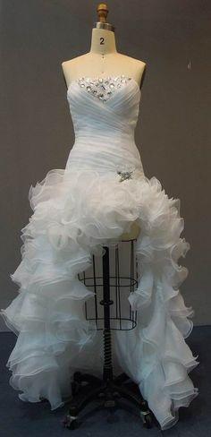 Strapless High Low Wedding Dresses | Ruffled Wedding Gown | Outdoor destination beach wedding dress