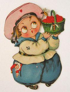 """Sailor Boy w/Basket of Hearts, Bees Vintage Mechanical """"Walking"""" Valentine"""