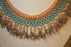 Beadwoven Southwest Sunset Beadwork Necklace - Beadweaving - Seed Beads. $75.00, via Etsy.