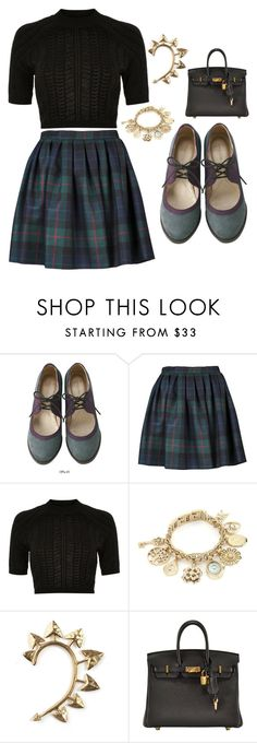 """Untitled #529"" by casschrisdyck ❤ liked on Polyvore featuring Olympia Le-Tan, River Island, Anne Klein, Rachel Entwistle and Hermès"