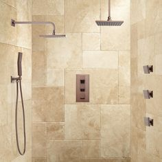 Ryle Dual Wall-Mount & Rainfall Shower System with Hand Shower & Body Sprays - Rain Showers - Showers - Bathroom Master Bathroom Shower, Shower Arm, Shower Faucet, Bathroom Ideas, Restroom Ideas, Master Bathrooms, Bathroom Organization, Bathroom Showers, Shower Ideas