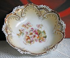 Bowl. Antique Porcelain Bowl by RS Prussia. Hand Painted Fine