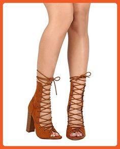 Liliana ED11 Women Suede Peep Toe Lace Up Block Heel Gladiator Bootie - Tan (Size: 8.0) - Sandals for women (*Amazon Partner-Link)