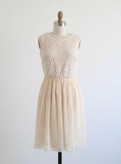 Cream Crochet Top Chiffon Dress