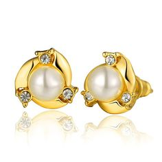 Classic 24K Gold Plated Round Pearl Stud Earrings for Women GPSE020