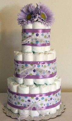 3 Tier Diaper Cake Lavender Purple Polka Dot Baby Shower Centerpiece Boy or Girl | eBay