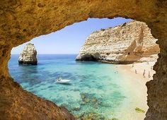 {Praia Dona Ana Beach is one of the most photographed beaches in Lagos, a town in Algarve, Portugal. Spain And Portugal, Portugal Travel, Places Around The World, Around The Worlds, Portuguese Culture, Hotels, Vacation Spots, Vacation Destinations, Beach Fun