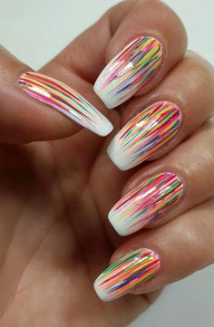Streaks Of Colors On White Nail Polish For Summer On Coffin Nails