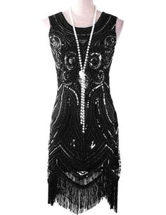 1920s Great Gatsby Beaded Paisley Flapper Party Dress