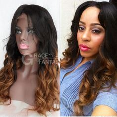 939b9121b Human Hair Ombre Wig for Women Black Roots 1B/27 Body Wave Blonde Lace  Front Wig Glueless Brazilian Virgin Hair with Baby Hair Two Tone Color