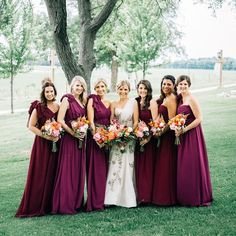Bridesmaids in our Aidan dresses in the Pantone color of the year: Marsala! @smpweddings  Photo by #Geneoh #jycaiden #jycbridesmaid