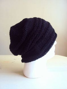 Mens Slouchy Beanie Knit Hat Dreadlock Hat Rasta Hat Black Slouchy Beanie  Gift For Him bd16c2fea709