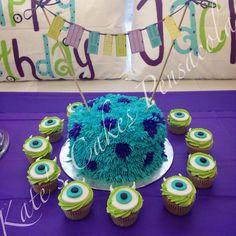 Monster's Inc. Birthday Party Cake. Sully Cake. Mike Wazowski cupcakes. Pensacola, Florida. Kate's Cakes Pensacola