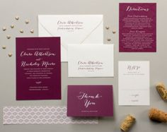 These letterpress wedding invitations features pale pink stripes and elegant calligraphy script, setting a romantic tone for your formal wedding.