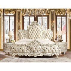 This Morrigan Luxurious Traditional Upholstered Panel Bed Luxury Bedroom Sets, Luxury Bedroom Furniture, Luxurious Bedrooms, Dream Bedroom, Home Bedroom, Master Bedroom, Bedroom Decor, Victorian Bedroom Furniture, Fancy Bedroom