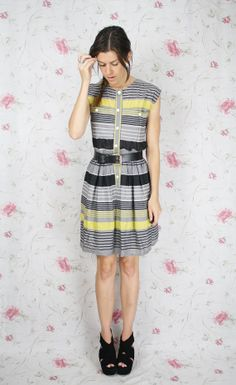 vintage grey/black/yellow striped dress
