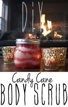 """DIY Peppermint """"Candy Cane"""" body scrub.  Great as a DIY Gift"""