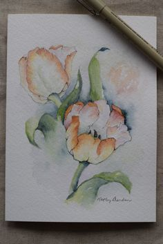 Pfirsich-Tulpen Aquarell gemalt Card-Original von SunsetPeonies