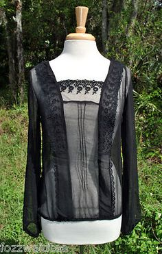 NWT Eye Candy Ultra Sheer Black Lace Blouse size M Medium Womens Goth Top New