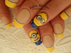 Nail art from the NAILS Magazine Nail Art Gallery, hand-painted, despicable me, minions, Cute Acrylic Nail Designs, Pretty Nail Designs, Cute Acrylic Nails, Nail Art Designs, Funky Nail Art, Funky Nails, Cute Nail Art, Fabulous Nails, Gorgeous Nails