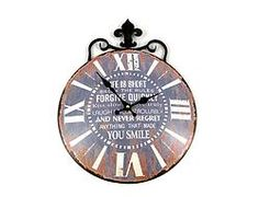 Round Brown Metal Clock - $37.49