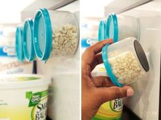 Glue magnets to the bottom of containers and stick them to the walls of a fridge.