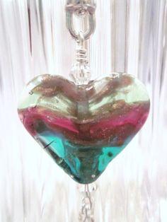 "Artisan Created ""Sunrise Over the Caribbean"" -Lampwork Glass Necklace - Swarovski Crystal, Sterling Silver, Handmade, Unique, OOAK, SRAJD"
