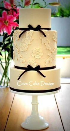 Blush Lace Applique Cake