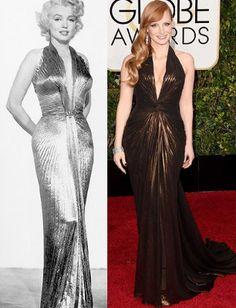 """Jessica Chastain #Versus Marilyn Monroe En el año 2015, la actriz Jessica Chastain acudió a la gala de los Globos de Oro luciendo un vestido de Versace. El diseño, en tono ocre, parecía haber sido rescatado de la época dorada de Hollywood, evocando al que William Travilla diseñó para Marilyn Monroe en """"Los caballeros las prefieren rubias"""" (1953) 🌟"""