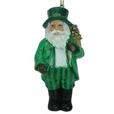 """3.5"""" Luck of the Irish Santa Claus in a Striped Green Suit Christmas Ornament $6.99"""