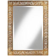"Valongo Antique Gold 40 3/4"" High Metal Wall Mirror - #3H226 | LampsPlus.com"