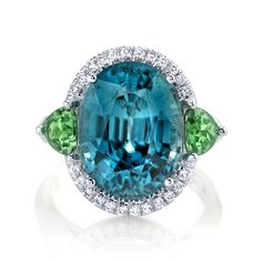 Omi Prive blue zircon, tsavorite and diamond cocktail ring.