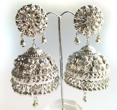 TRIBAL SILVER Jhumka EarringsLarge Silver by taneesijewelry, $55.00