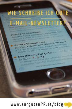Wie im richtigen Leben entscheiden die ersten Sekunden, ob der Leser Ihre E-Mail öffnet. Zur guten PR gibt Tipps, wie Sie gute E-Mail-Newsletter schreiben, die geöffnet, gelesen UND geklickt werden. #newsletter#onlinepr #gründerinnen #schreiben#port41 Blog, Writing, Tips, Blogging