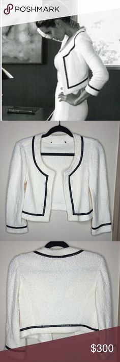 RARE! ST. JOHN Crop Jacket As seen on Angelina Jolie in the St. John ads! The actual size tag and brand tag is missing BUT the tag on the side that St. John pieces have is there- see last picture. Could fit a XS/Small or even medium jacket size depending on how you wear it and your bust size. It has 1 hook eye latch at the top chest area. It has pearls embedded into the jacket.........    Bust is 34inches with the jacket closed. Arm opening is 12 inches around. St. John Jackets & Coats…
