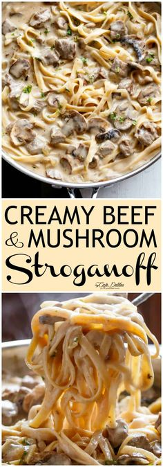 Creamy Beef and Mushroom Stroganoff. Creamy Beef and Mushroom Stroganoff Comfort food at its finest. Pasta and a white wine spiked creamy sauce -- also known as Beef Stroganoff -- ready and on the table in less th. Healthy Comfort Food, Best Comfort Food, Comfort Foods, Easy Comfort Food Recipes, Healthy Food, Beef Mushroom Stroganoff, Hamburger Beef Stroganoff, Stroganoff Noodles, Gastronomia