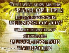 Psalm 16:11 KJV Thou wilt shew me the path of life: in thy presence is fulness of joy; at thy right hand there are pleasures for evermore. #Dailybibleverse